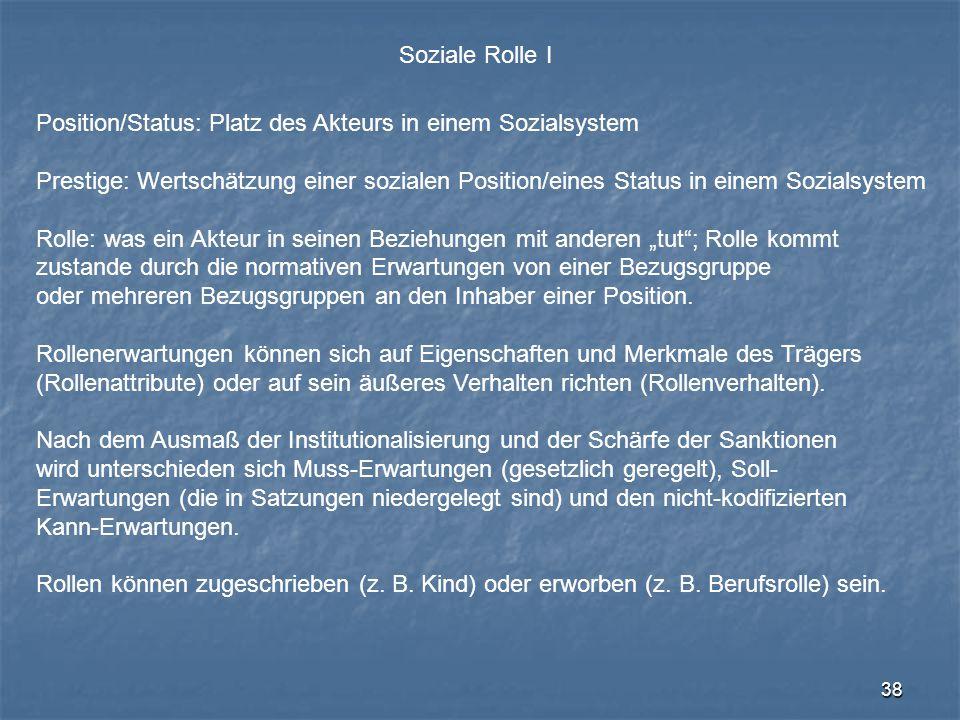 Soziale Rolle I Position/Status: Platz des Akteurs in einem Sozialsystem.