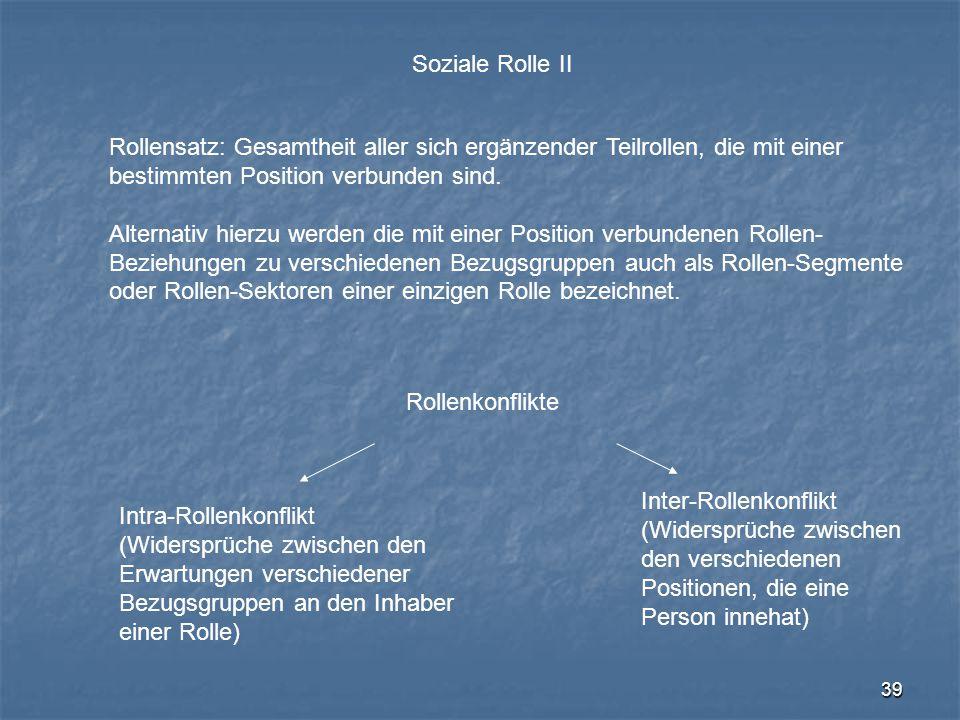 Soziale Rolle II Rollensatz: Gesamtheit aller sich ergänzender Teilrollen, die mit einer. bestimmten Position verbunden sind.