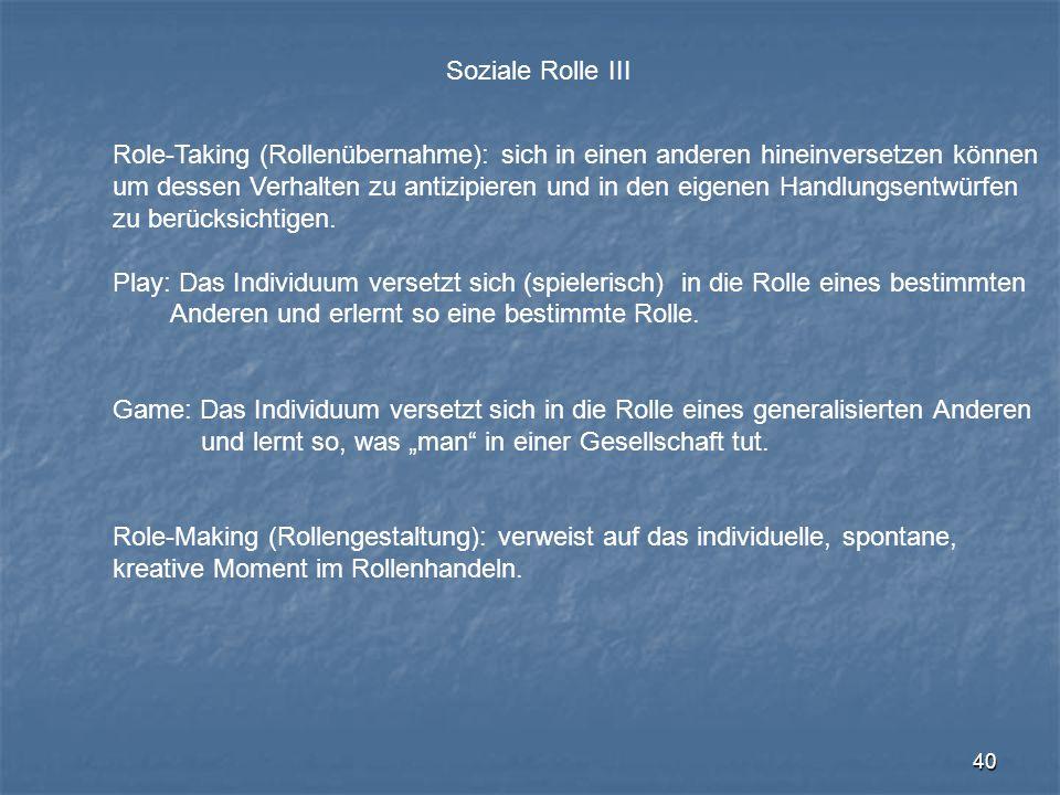 Soziale Rolle III Role-Taking (Rollenübernahme): sich in einen anderen hineinversetzen können.