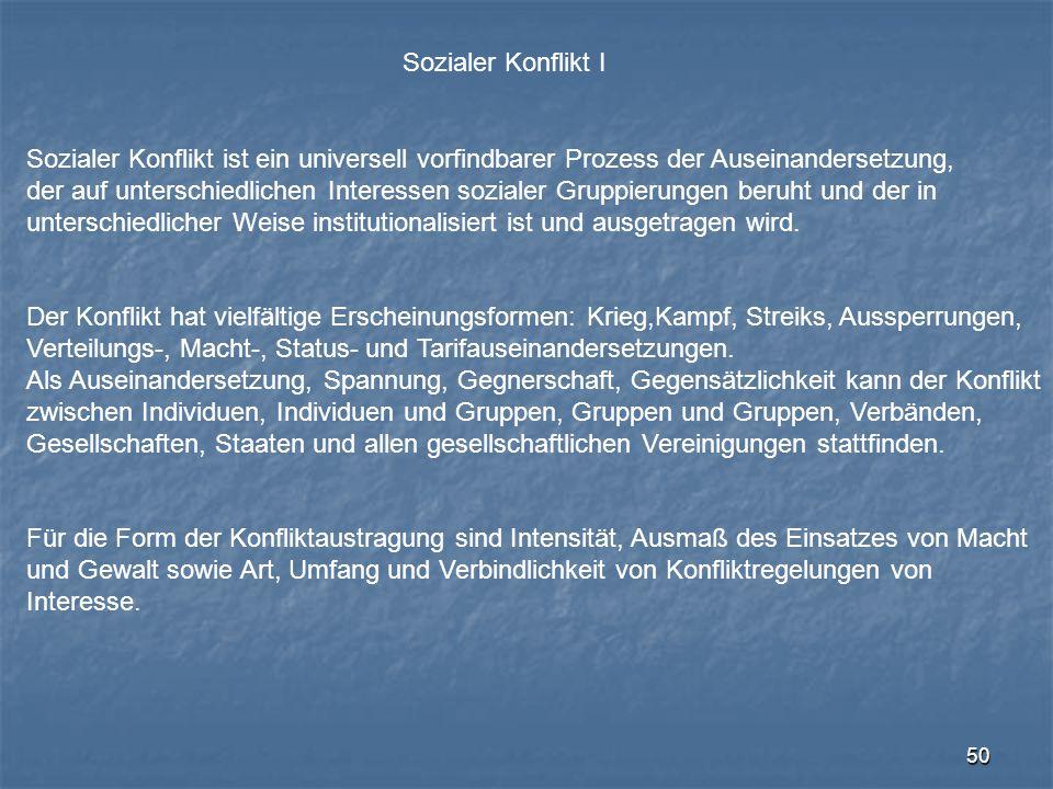 Sozialer Konflikt I Sozialer Konflikt ist ein universell vorfindbarer Prozess der Auseinandersetzung,
