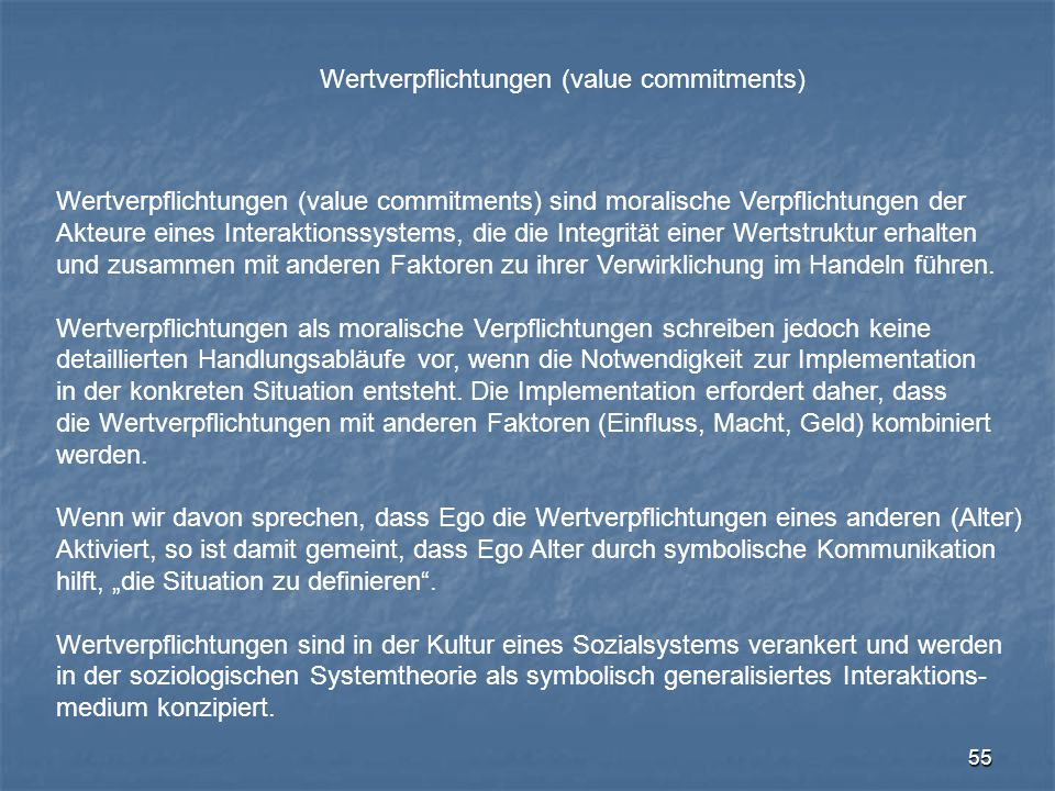 Wertverpflichtungen (value commitments)