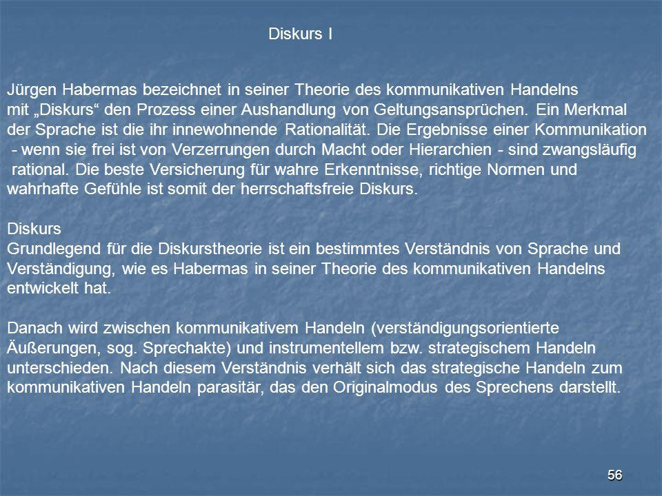 Diskurs I Jürgen Habermas bezeichnet in seiner Theorie des kommunikativen Handelns.