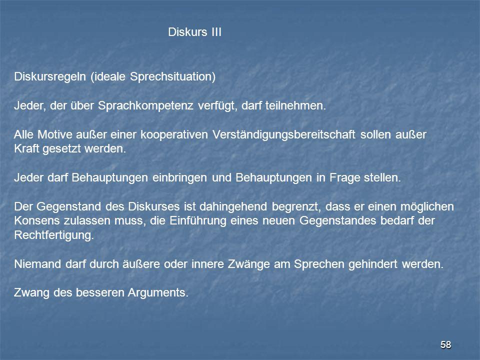 Diskurs III Diskursregeln (ideale Sprechsituation) Jeder, der über Sprachkompetenz verfügt, darf teilnehmen.