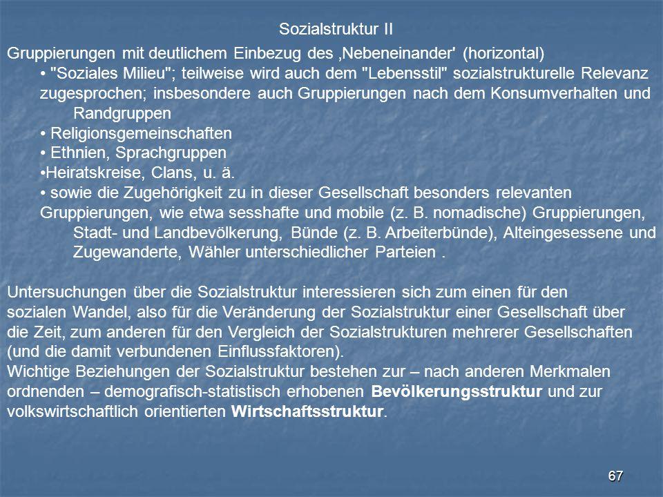 Sozialstruktur II Gruppierungen mit deutlichem Einbezug des 'Nebeneinander (horizontal)
