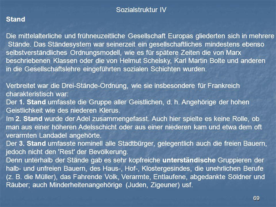 Sozialstruktur IV Stand. Die mittelalterliche und frühneuzeitliche Gesellschaft Europas gliederten sich in mehrere.