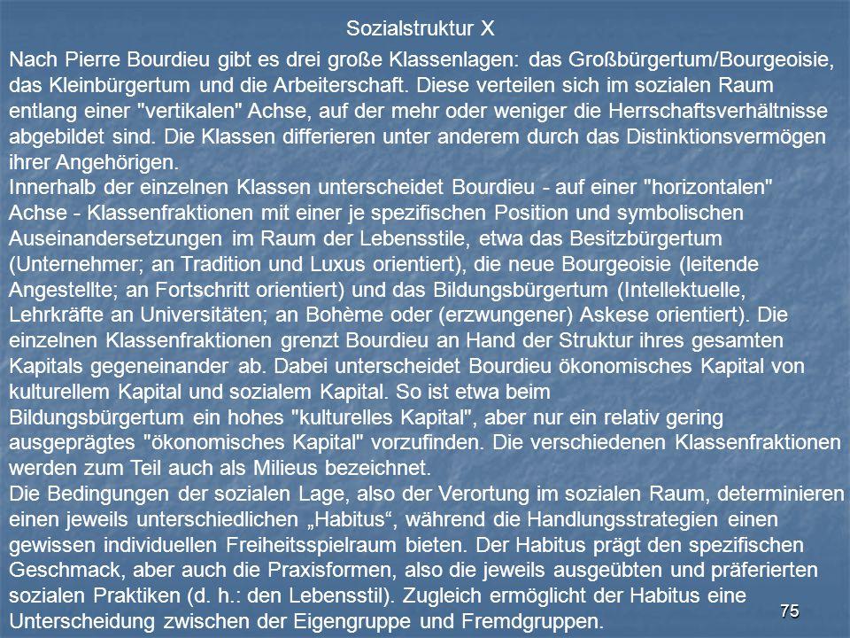 Sozialstruktur X Nach Pierre Bourdieu gibt es drei große Klassenlagen: das Großbürgertum/Bourgeoisie,