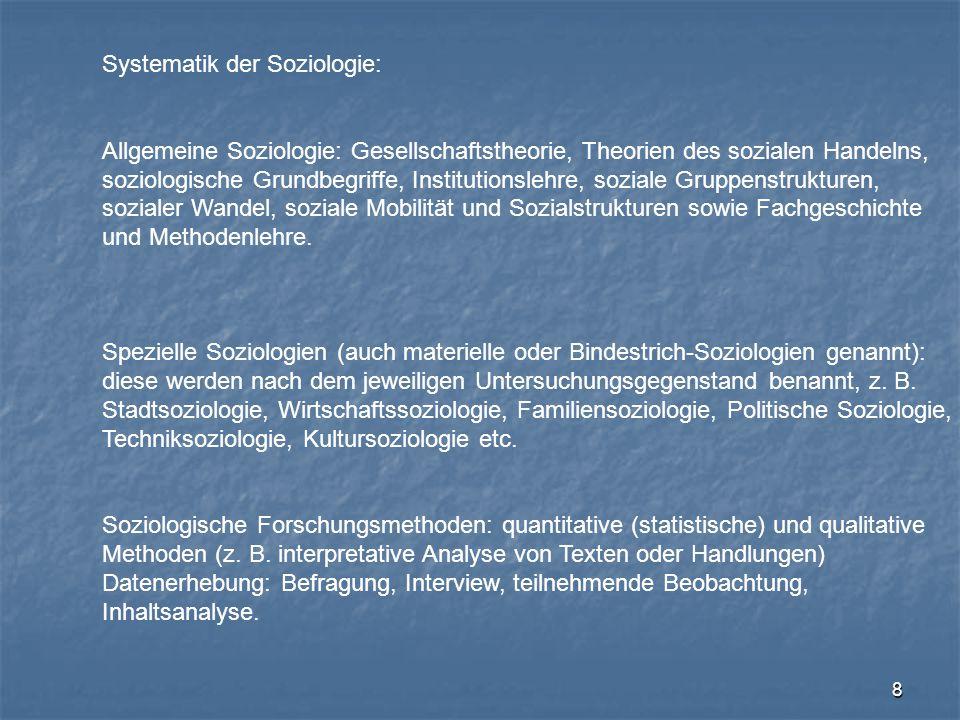 Systematik der Soziologie: