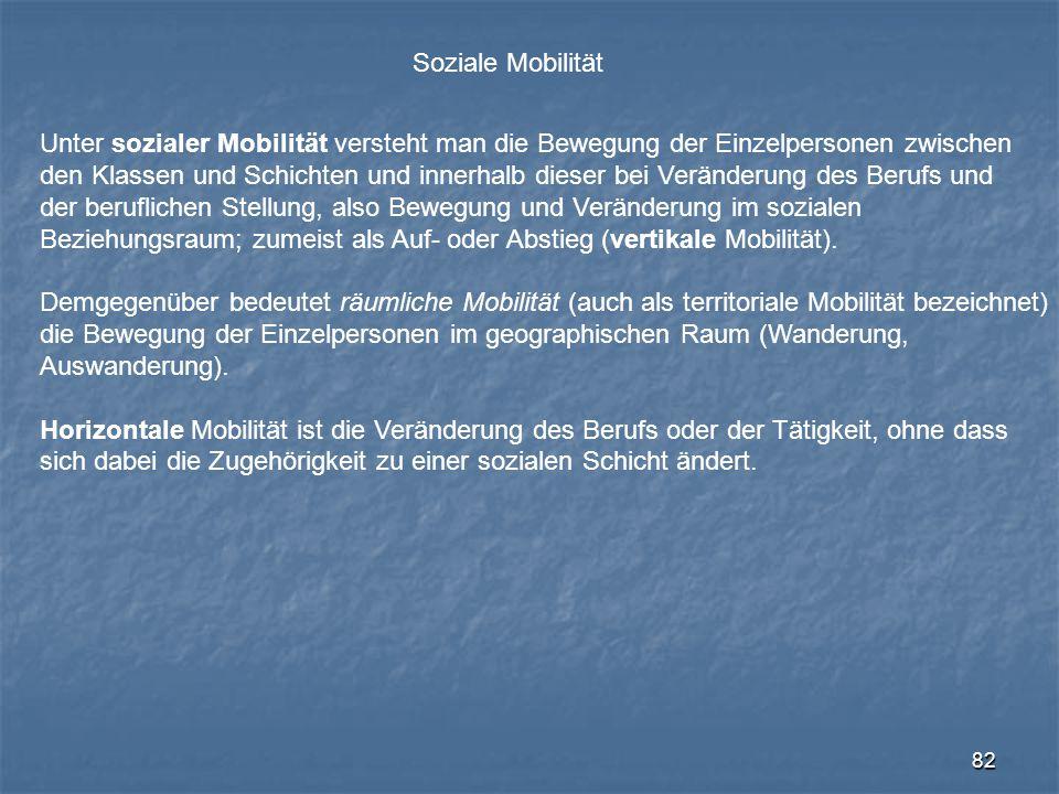 Soziale Mobilität Unter sozialer Mobilität versteht man die Bewegung der Einzelpersonen zwischen.