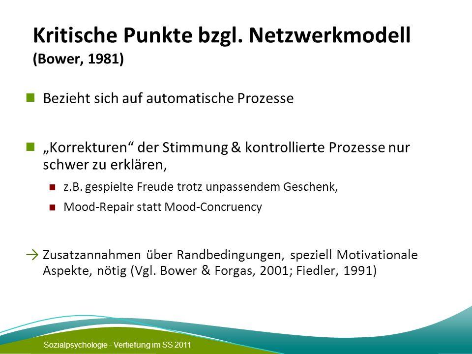 Kritische Punkte bzgl. Netzwerkmodell (Bower, 1981)
