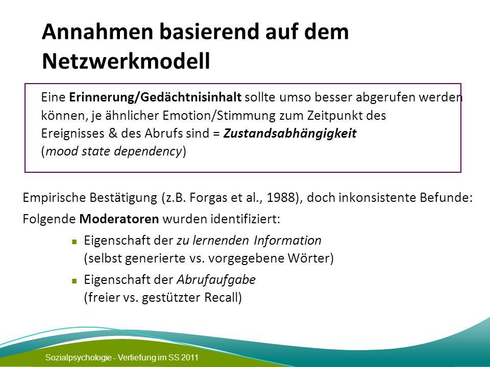 Annahmen basierend auf dem Netzwerkmodell
