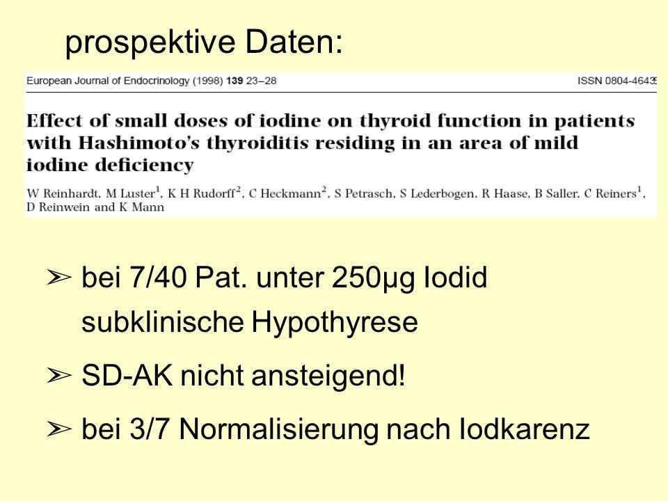 prospektive Daten: bei 7/40 Pat. unter 250µg Iodid subklinische Hypothyrese. SD-AK nicht ansteigend!