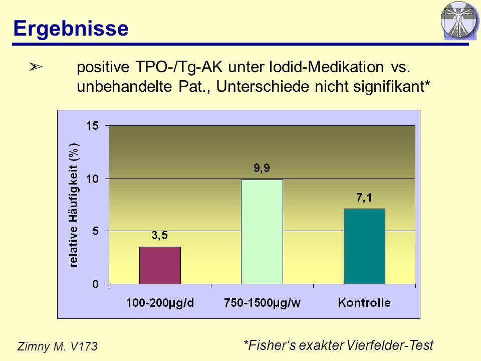 Ergebnisse positive TPO-/Tg-AK unter Iodid-Medikation vs. unbehandelte Pat., Unterschiede nicht signifikant*