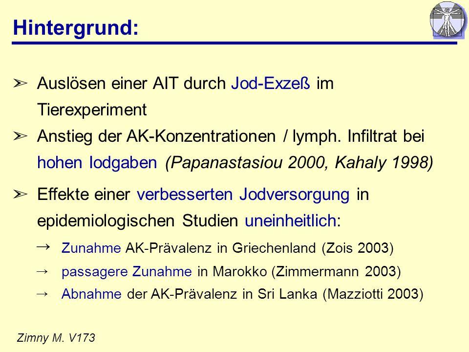 Hintergrund: Auslösen einer AIT durch Jod-Exzeß im Tierexperiment