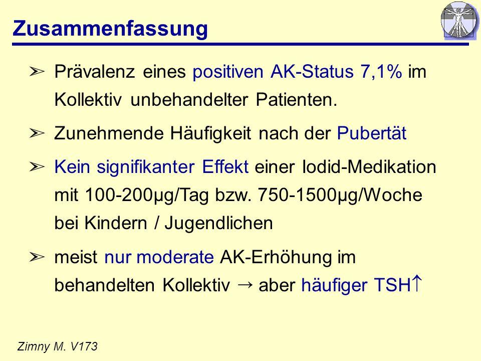Zusammenfassung Prävalenz eines positiven AK-Status 7,1% im Kollektiv unbehandelter Patienten. Zunehmende Häufigkeit nach der Pubertät.