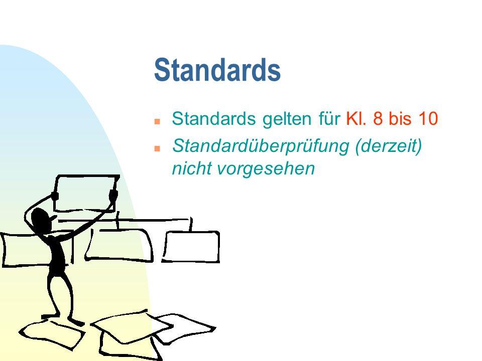 Standards Standards gelten für Kl. 8 bis 10