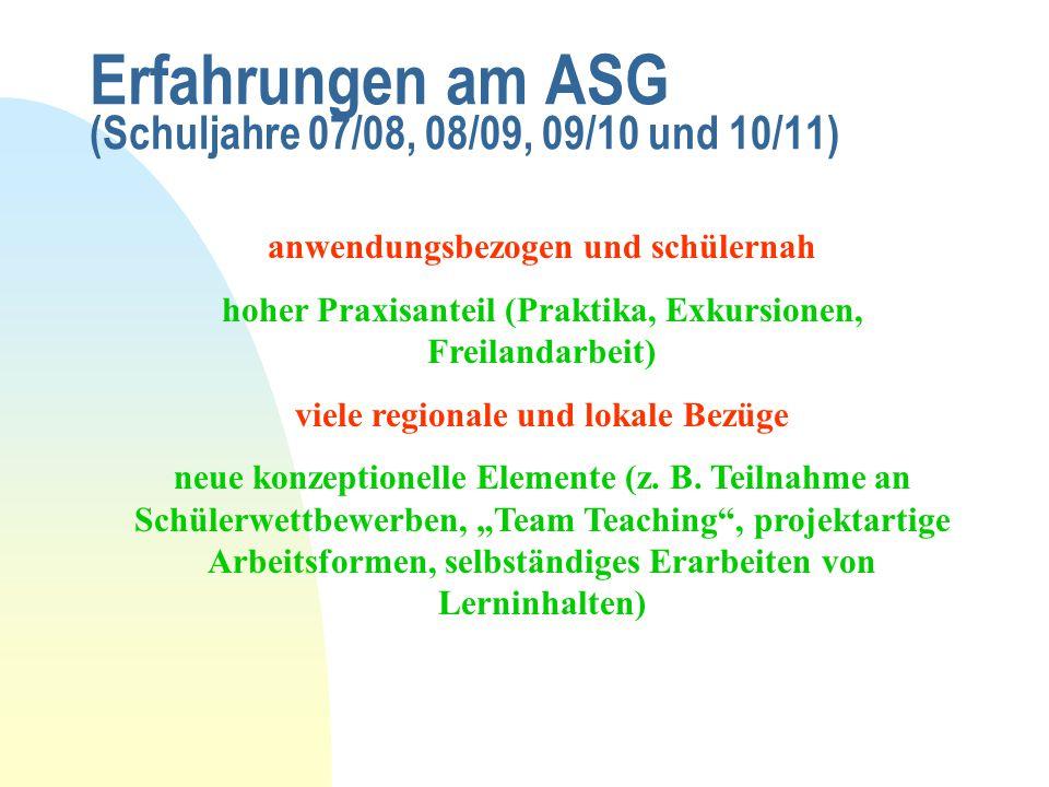 Erfahrungen am ASG (Schuljahre 07/08, 08/09, 09/10 und 10/11)
