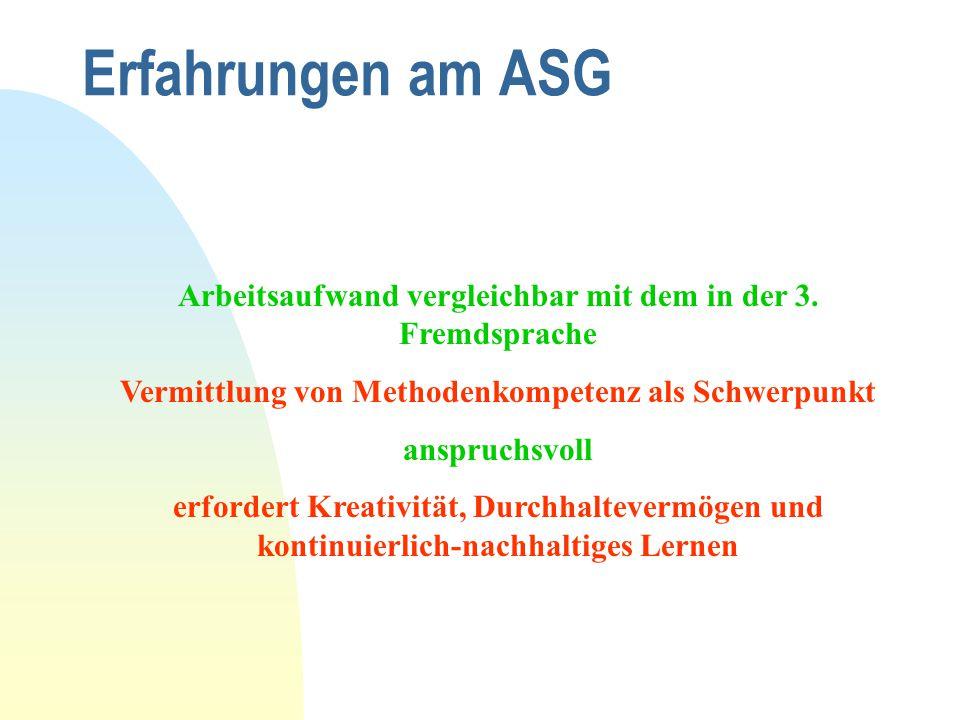 Erfahrungen am ASG Arbeitsaufwand vergleichbar mit dem in der 3. Fremdsprache. Vermittlung von Methodenkompetenz als Schwerpunkt.