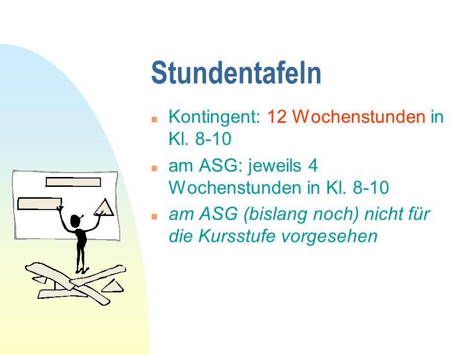 Stundentafeln Kontingent: 12 Wochenstunden in Kl. 8-10