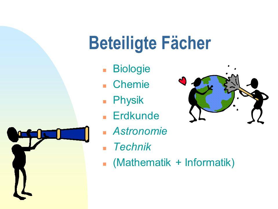 Beteiligte Fächer Biologie Chemie Physik Erdkunde Astronomie Technik