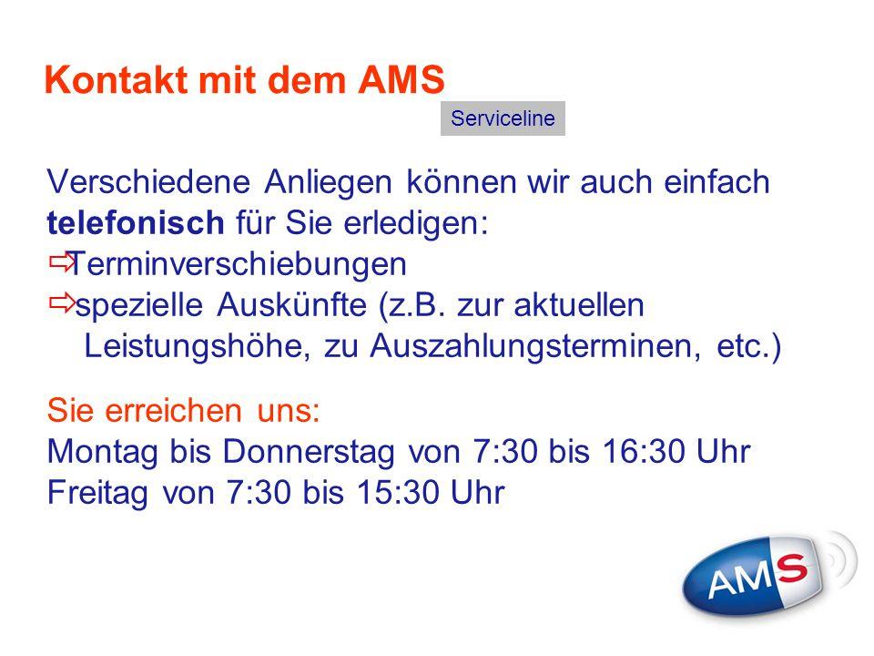 Kontakt mit dem AMS Serviceline. Verschiedene Anliegen können wir auch einfach telefonisch für Sie erledigen: