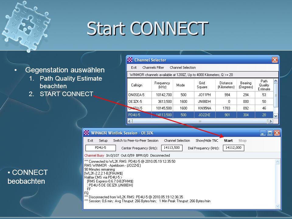 Start CONNECT Gegenstation auswählen CONNECT beobachten