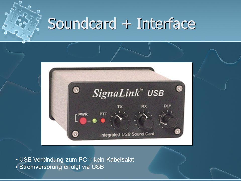 Soundcard + Interface USB Verbindung zum PC = kein Kabelsalat