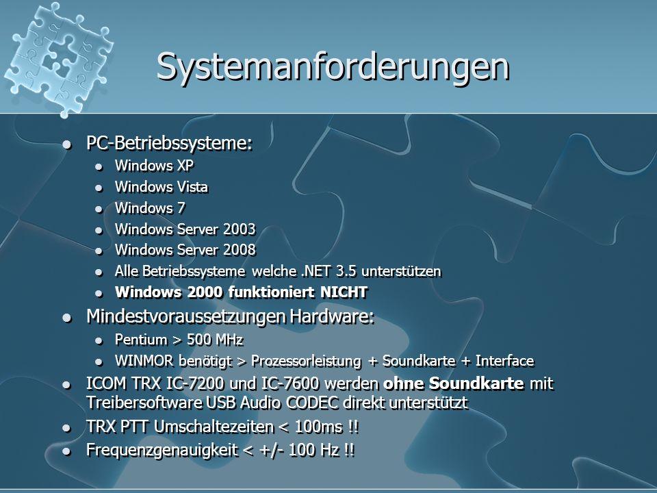 Systemanforderungen PC-Betriebssysteme: