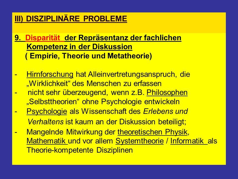 III) DISZIPLINÄRE PROBLEME