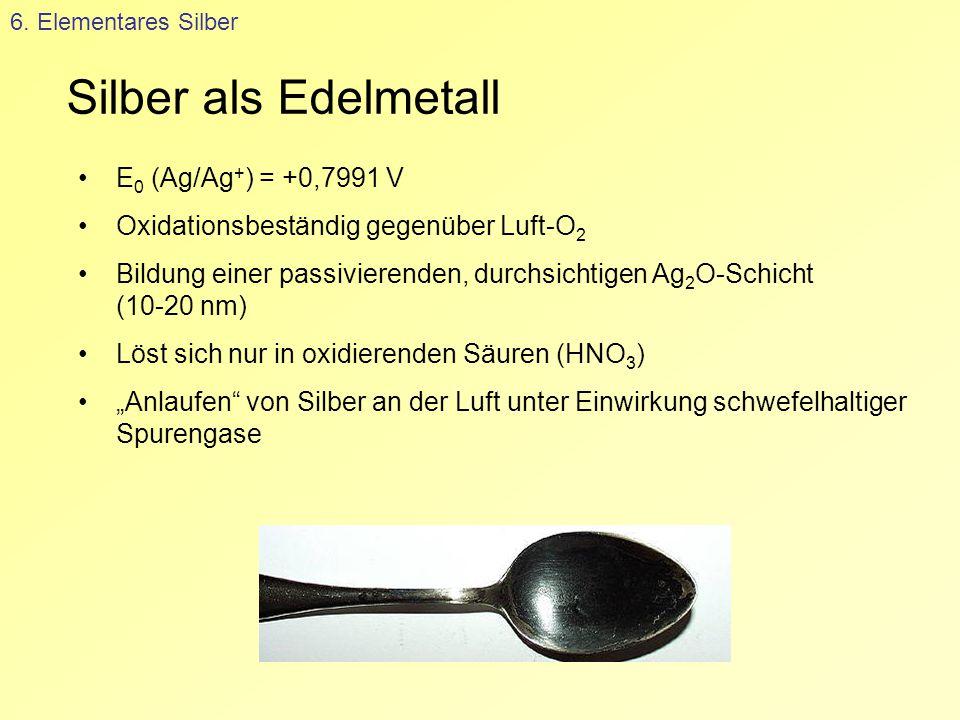Silber als Edelmetall E0 (Ag/Ag+) = +0,7991 V