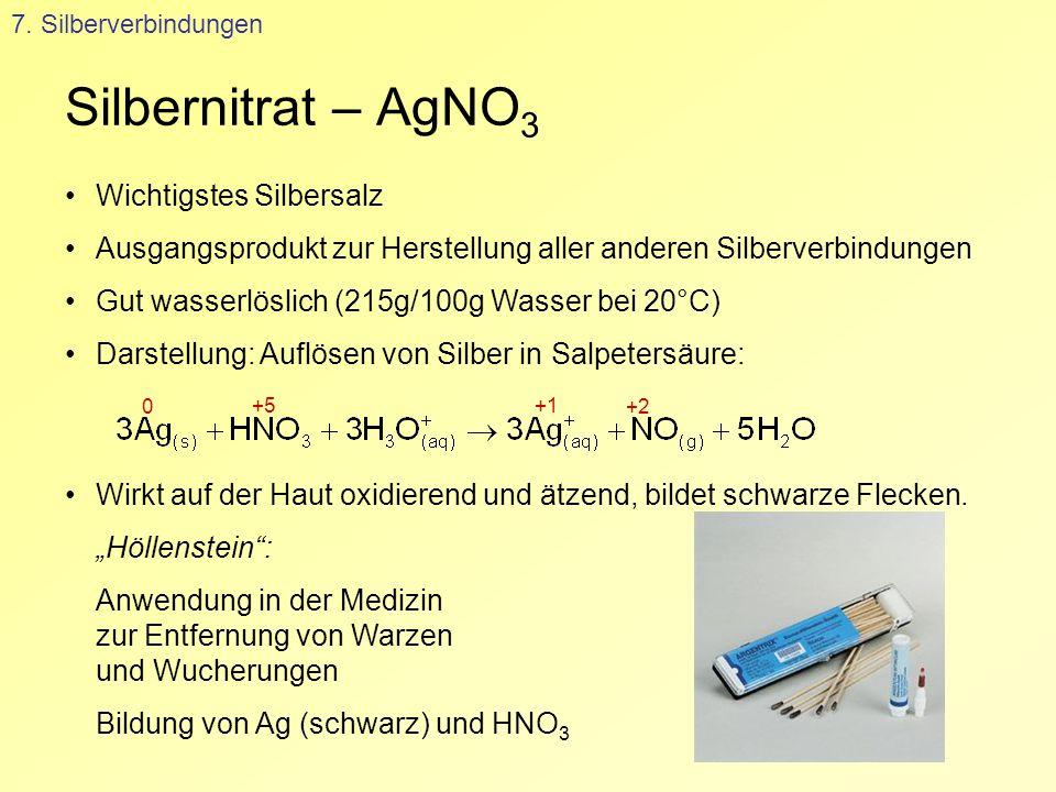 Silbernitrat – AgNO3 Wichtigstes Silbersalz