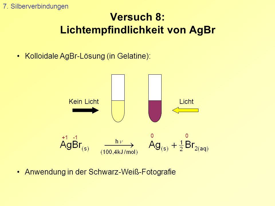 Versuch 8: Lichtempfindlichkeit von AgBr