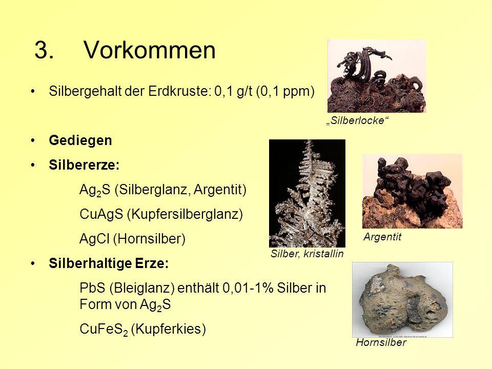 3. Vorkommen Silbergehalt der Erdkruste: 0,1 g/t (0,1 ppm) Gediegen