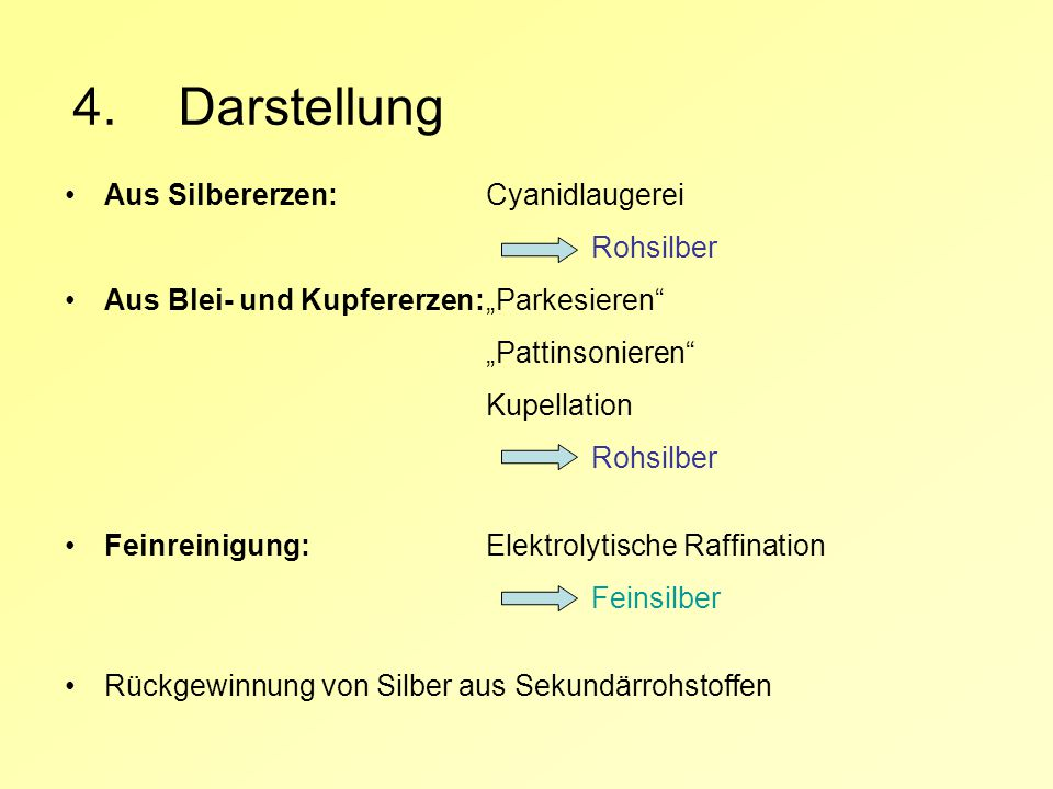 4. Darstellung Aus Silbererzen: Cyanidlaugerei Rohsilber