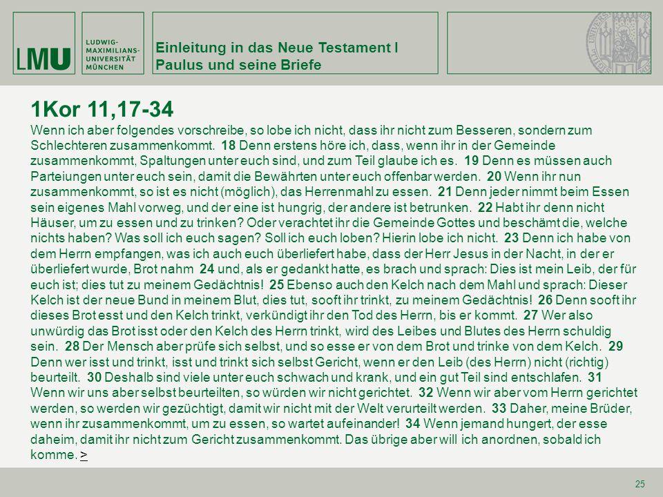 1Kor 11,17-34 Einleitung in das Neue Testament I