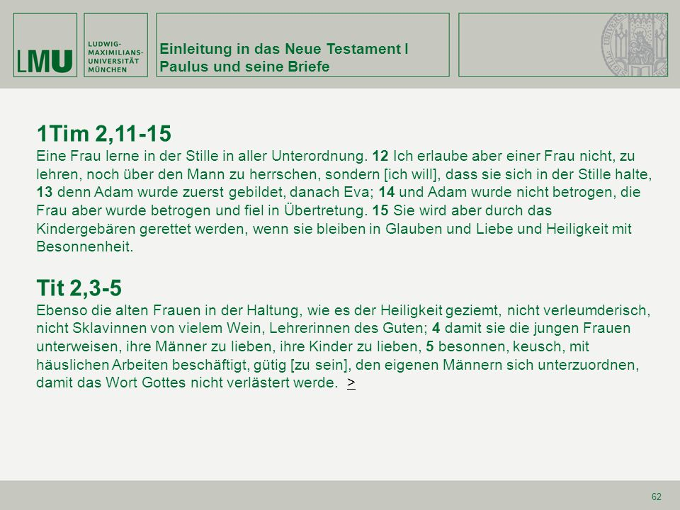 1Tim 2,11-15 Tit 2,3-5 Einleitung in das Neue Testament I