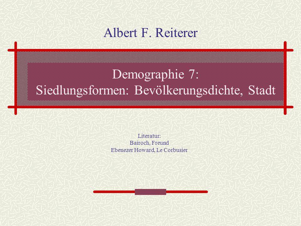 Demographie 7: Siedlungsformen: Bevölkerungsdichte, Stadt