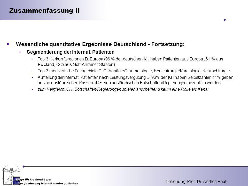 Zusammenfassung II Wesentliche quantitative Ergebnisse Deutschland - Fortsetzung: Segmentierung der internat. Patienten.
