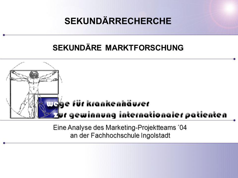 SEKUNDÄRE MARKTFORSCHUNG