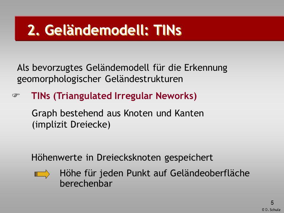 2. Geländemodell: TINs Höhenwerte in Dreiecksknoten gespeichert. Höhe für jeden Punkt auf Geländeoberfläche berechenbar.
