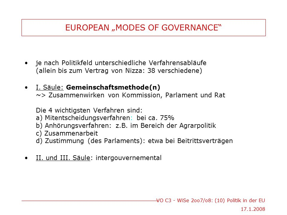"EUROPEAN ""MODES OF GOVERNANCE"