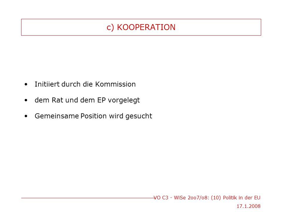 c) KOOPERATION Initiiert durch die Kommission
