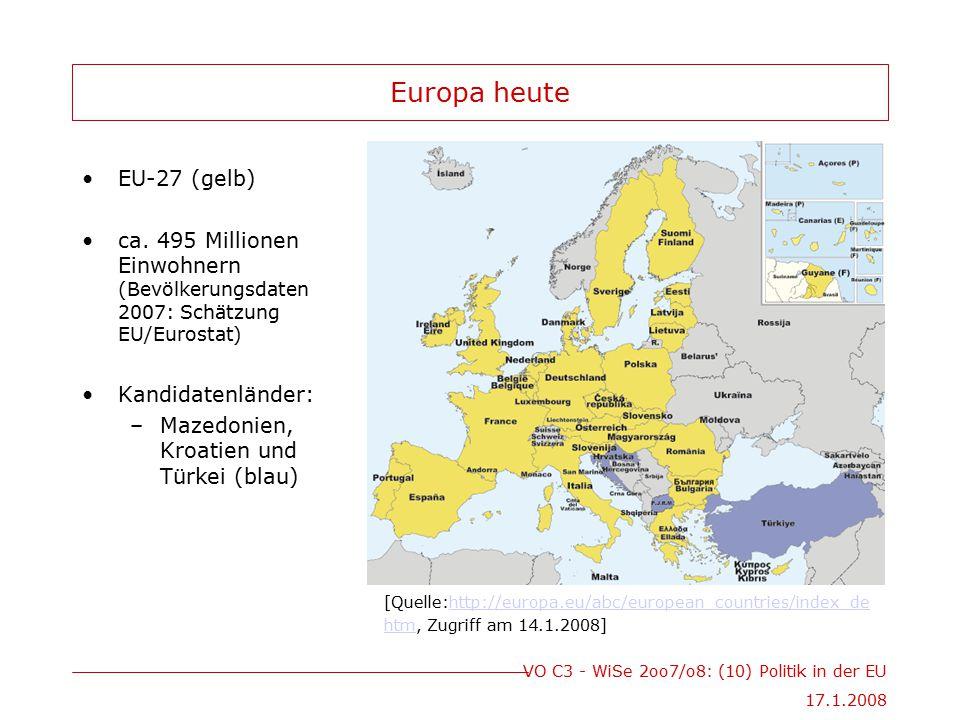 Europa heute EU-27 (gelb)
