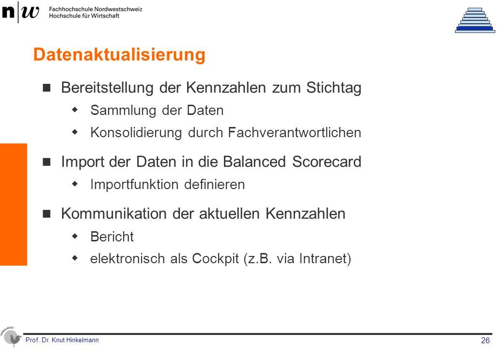 Datenaktualisierung Bereitstellung der Kennzahlen zum Stichtag