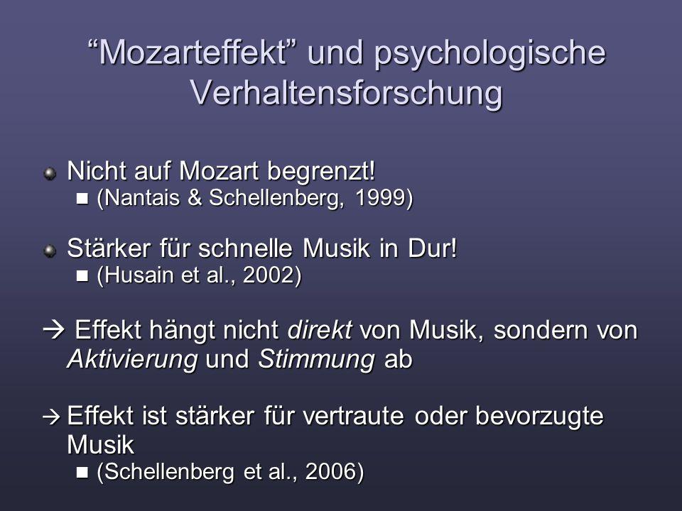 Mozarteffekt und psychologische Verhaltensforschung