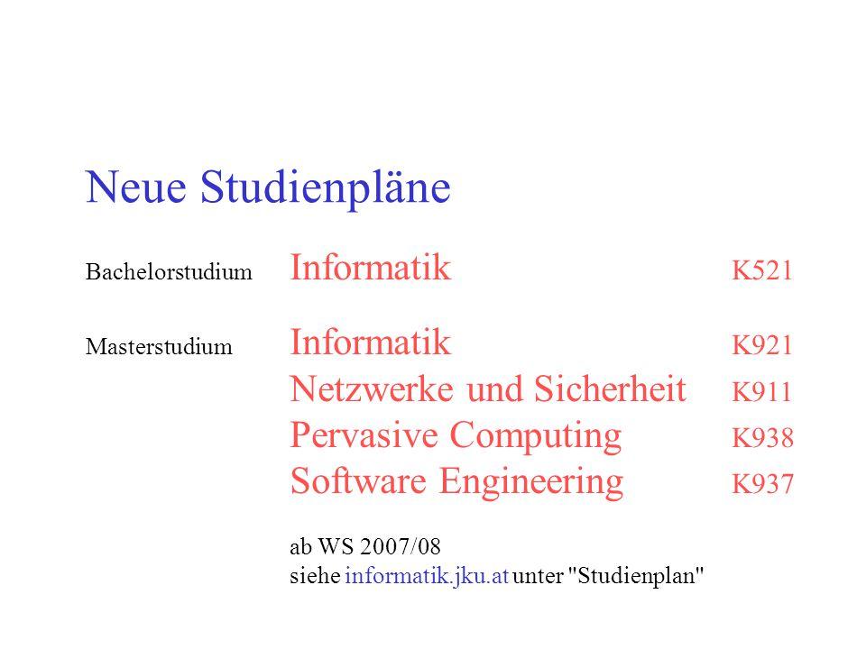 Neue Studienpläne Netzwerke und Sicherheit K911