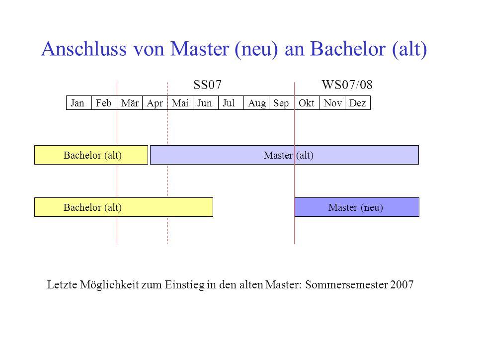 Anschluss von Master (neu) an Bachelor (alt)