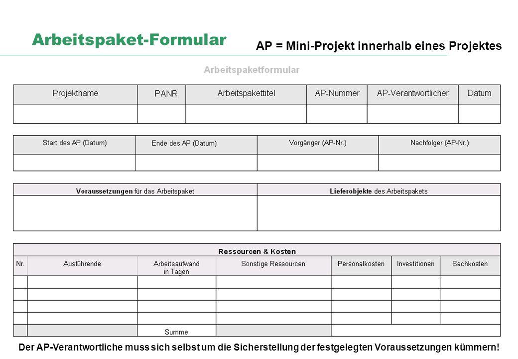 Arbeitspaket-Formular