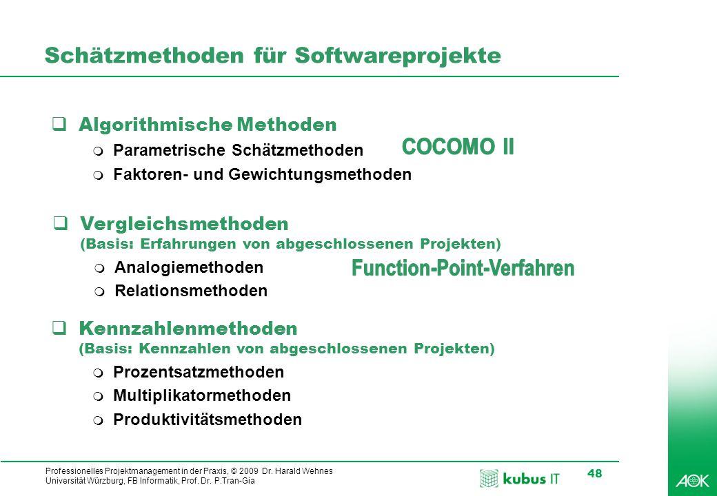 Schätzmethoden für Softwareprojekte
