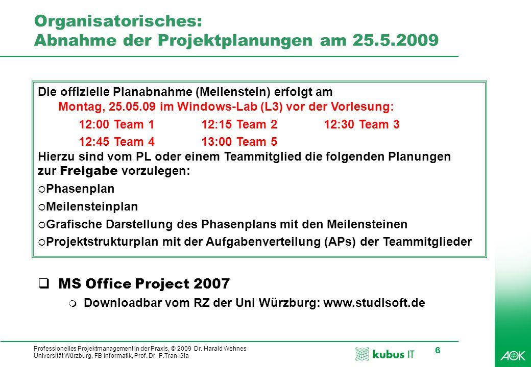 Organisatorisches: Abnahme der Projektplanungen am 25.5.2009
