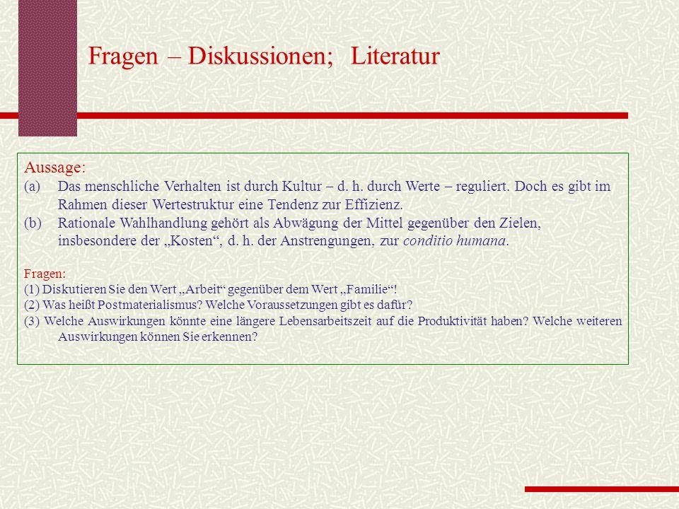 Fragen – Diskussionen; Literatur